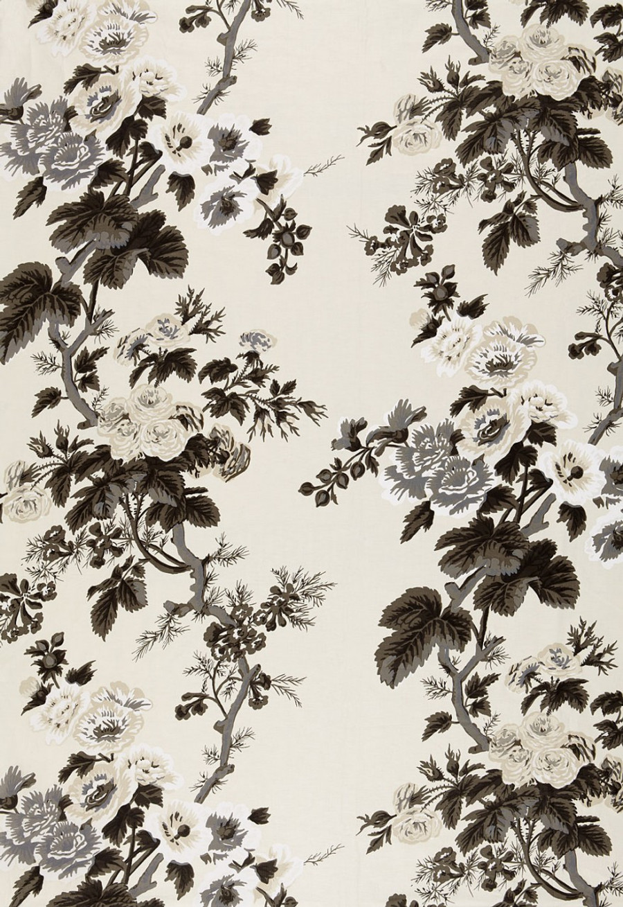 Schumacher Hollyhock Print 174450 Charcoal