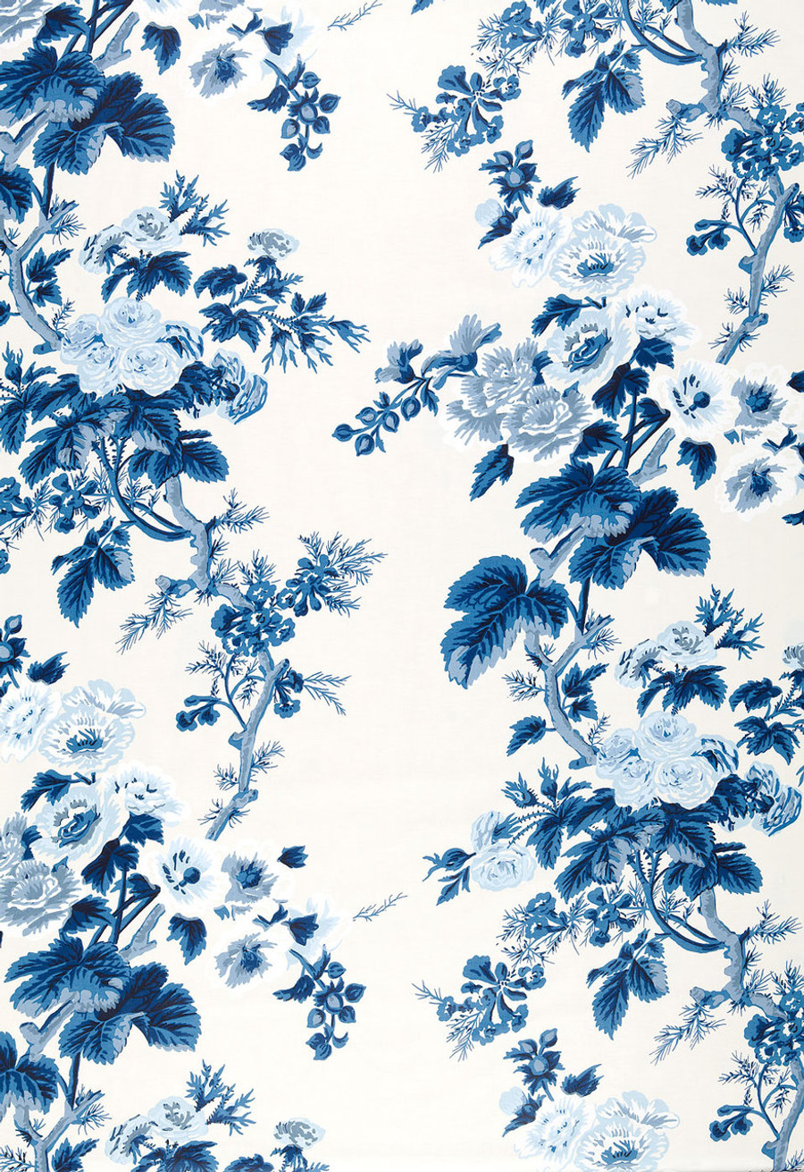 Pyne Hollyhock Print in Indigo