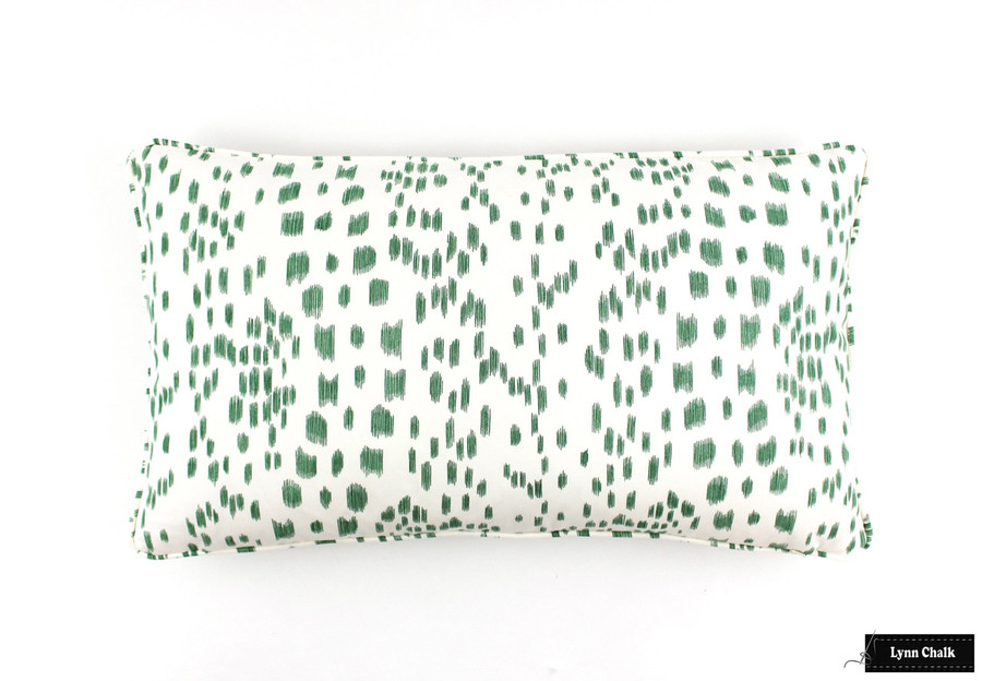 Brunschwig & Fils/Lee Jofa Les Touches Pillows in Green with Self Welting