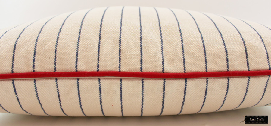 Pillow in Lodi in Sail with Red Welting (22 X 22)