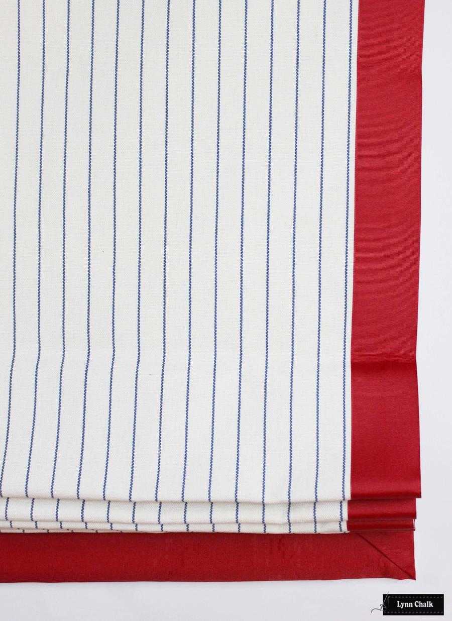 """Roman Shade in Lodi in Sail with 2"""" Wide Red Trim"""