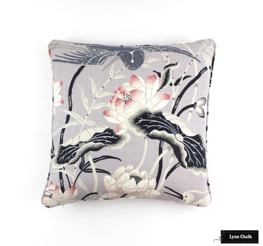 Schumacher Lotus Garden Lilac Pillow 18 X 18