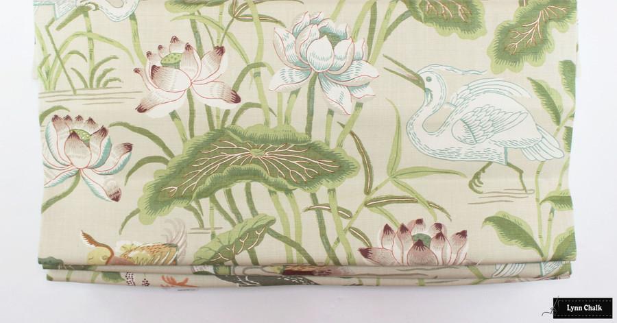 Lotus Garden Parchment Roman Shade