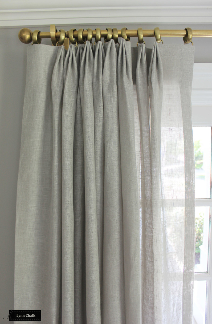 Living Room - Unlined Sheer Custom Drapes.  Drapery Hardware by Restoration Hardware.