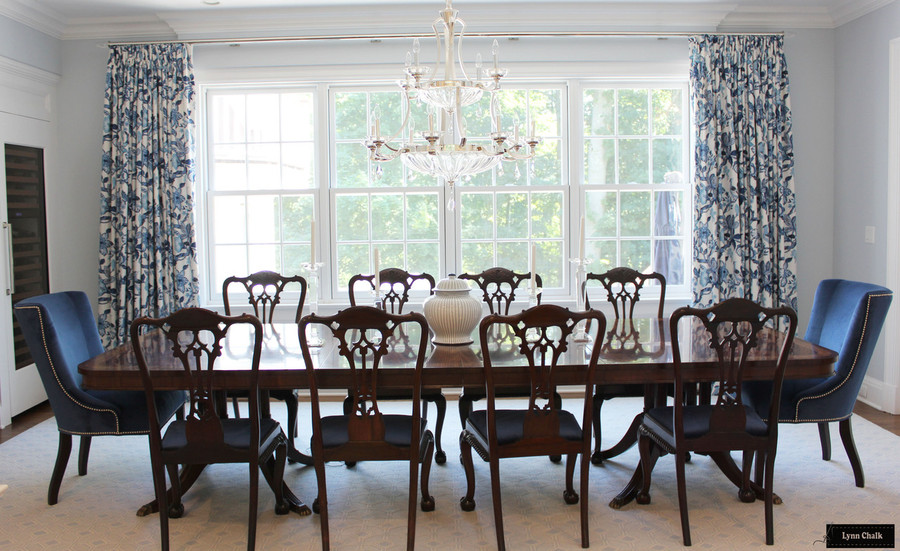 Schumacher Huntington Gardens Drapes (shown in Bleu Marine-comes in other colors)