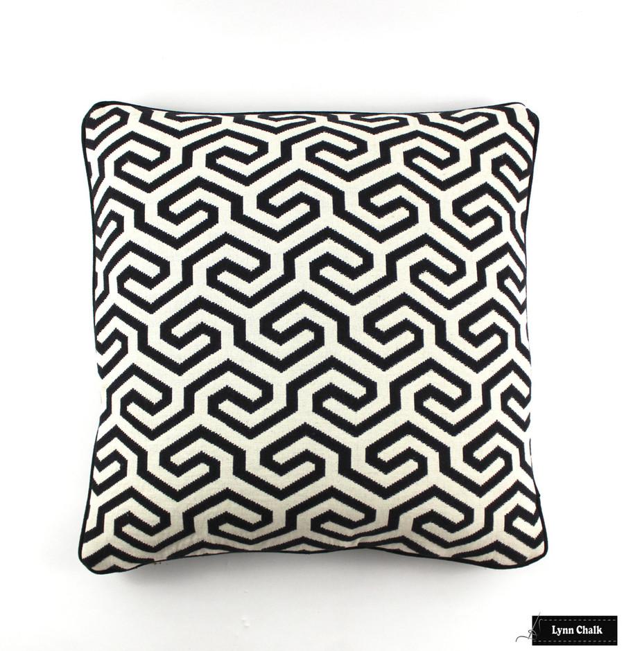 Schumacher Ming Fret Noir Pillow 22 X 22 with Black Welting