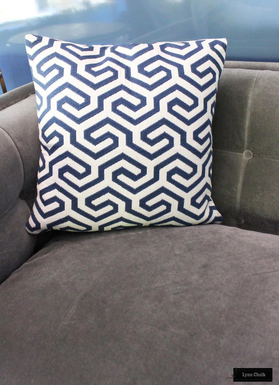 Schumacher Ming Fret Navy Pillow