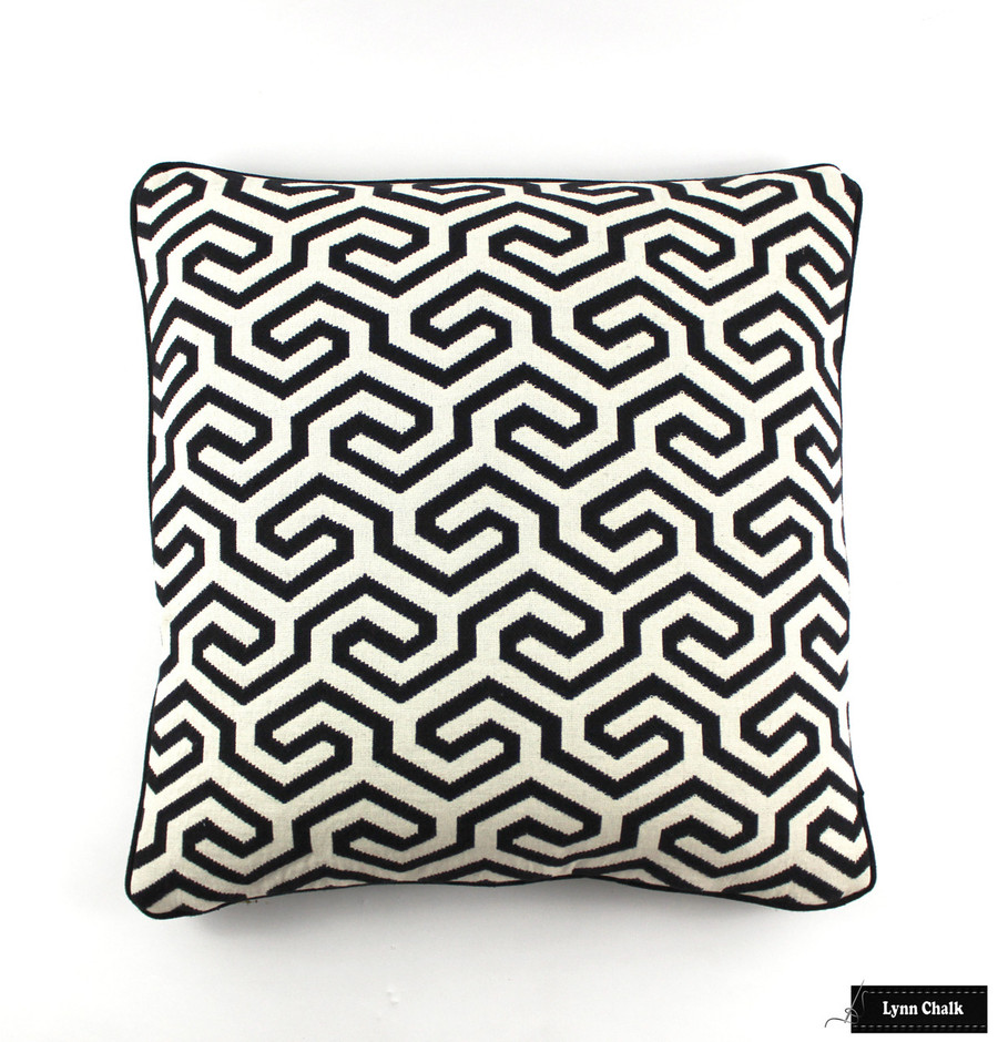 Schumacher Ming Fret Noir Pillow 22 X 22 with Black Welting