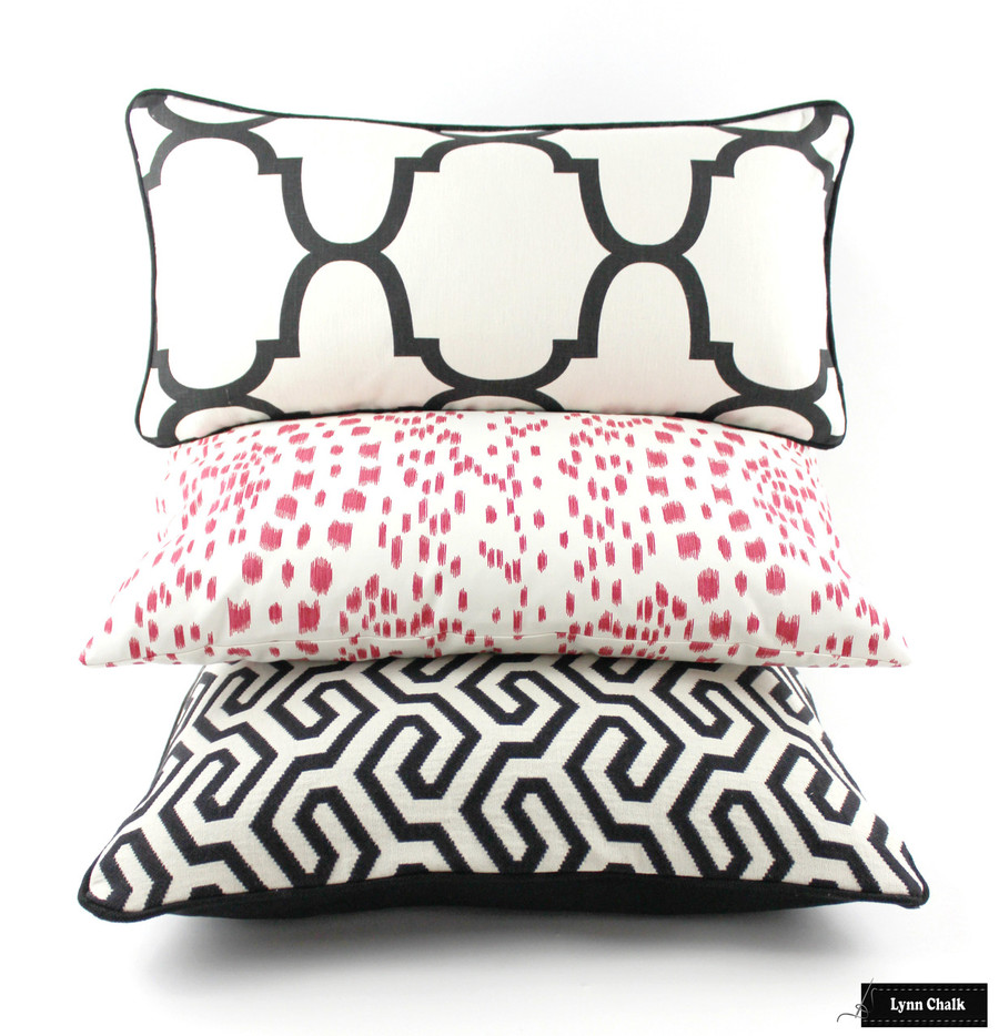 Pillows- Schumacher Ming Fret Noir, Brunschwig Fils Les Touches Pink, and Kravet Riad Black Pillows Lynn Chalk