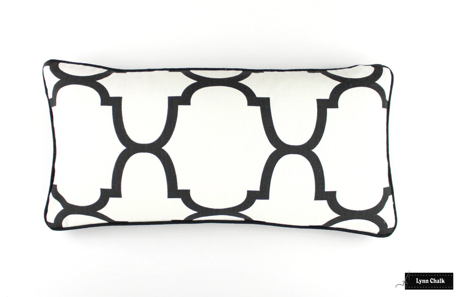 ON SALE Windsor Smith for Kravet RIAD Pillows in Jet with Black Welting (12 X 24) Only 2 Pillows Remaining at this Sale Price.  This color has been discontinued.