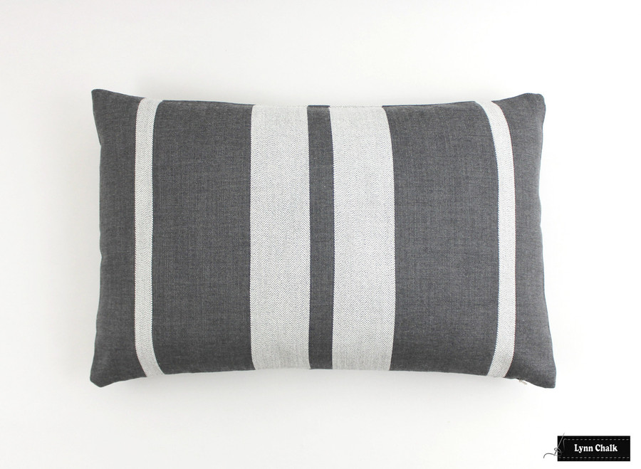 Pillow in Little Big Stripe in Flint (14 X 24)