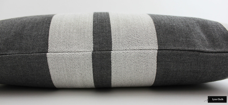 ON SALE 50% Off - Perennials Little Big Stripe Pillows Indoor/Outdoor in Flint (Both Sides-12 X 24) Made To Order