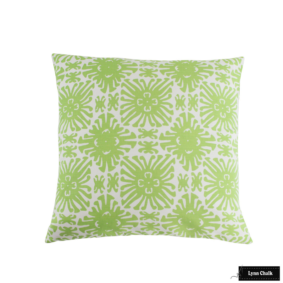 Quadrille Sigourney Small Scale Jungle Green on White 2475-02 Pillow 24 X 24