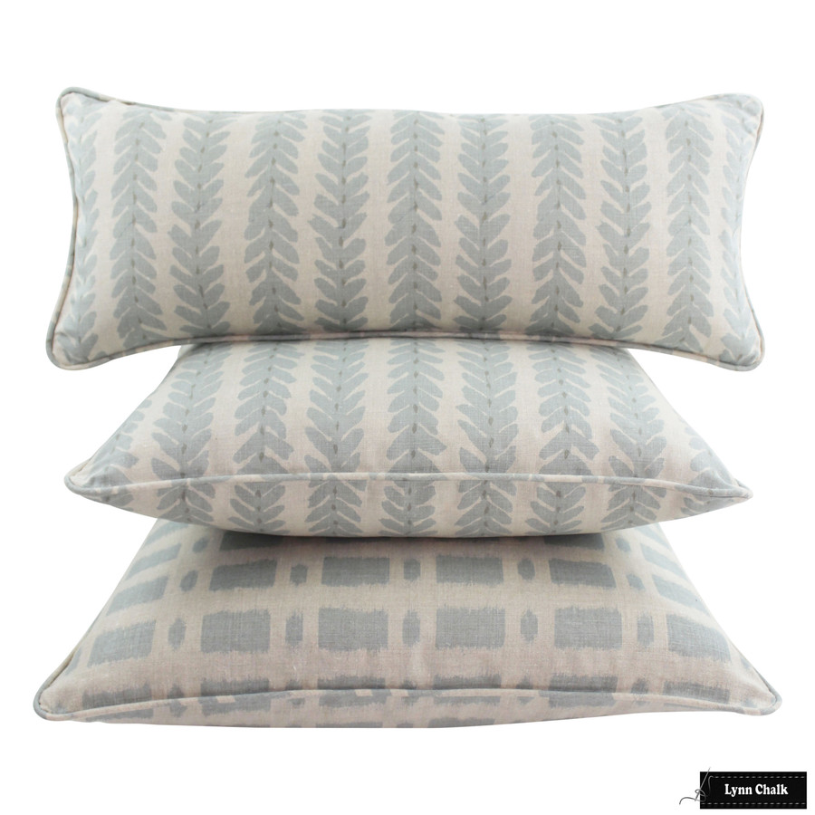 Schumacher Woodperry and Townline Road Blue Pillows