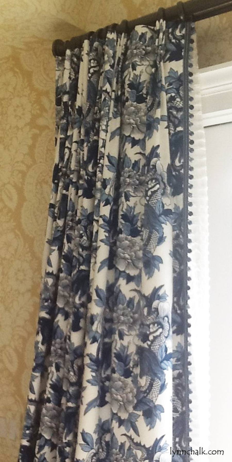 Custom Drapes by Lynn Chalk in Ralph Lauren Nanking Original with Samuel and Sons Aurelia Trim in Sapphire