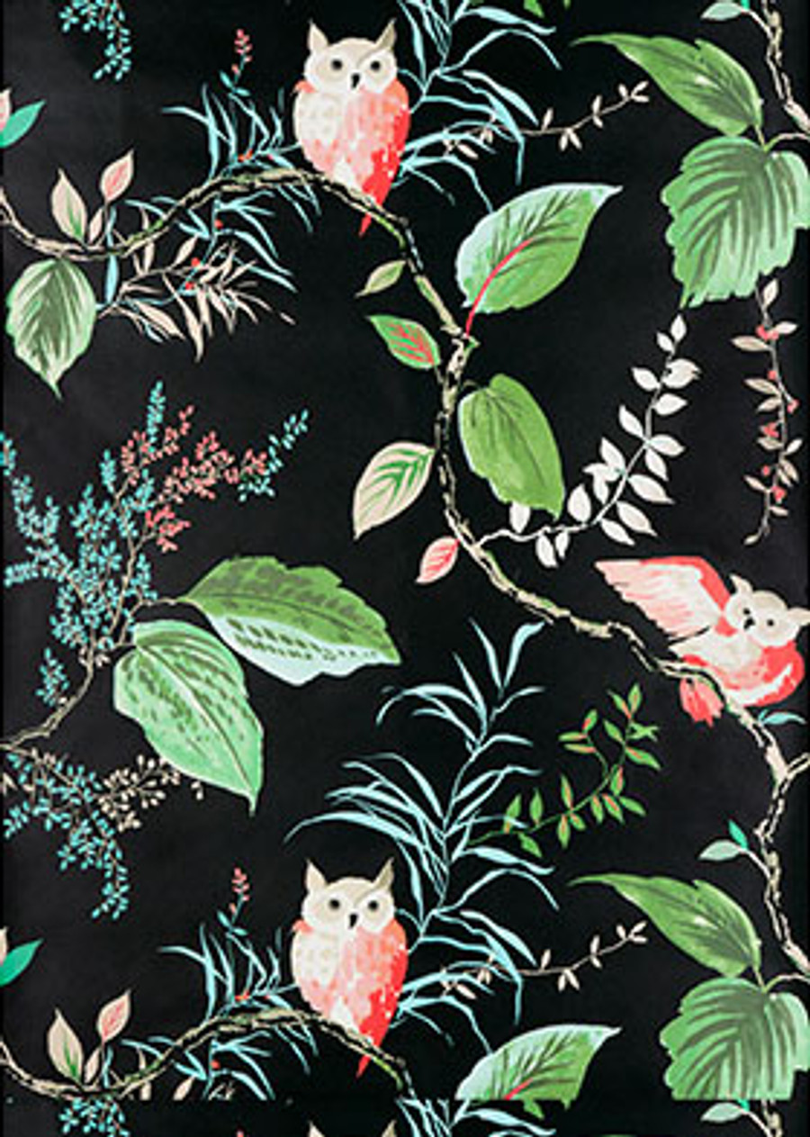 W3331 819 Owlish Wallpaper in Black