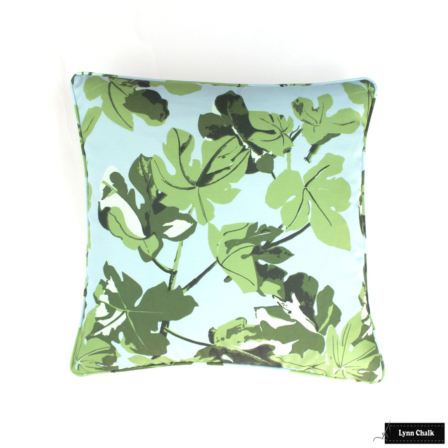Peter Dunham Fig Leaf Original on Blue Outdoor 22 X 22 Pillow
