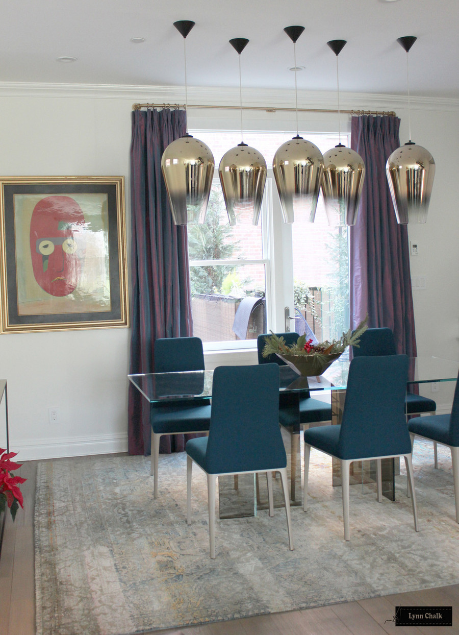 Schumacher Sargent Silk Taffeta Drapes in Dining Room (shown in Wisteria comes in over 60 colors)