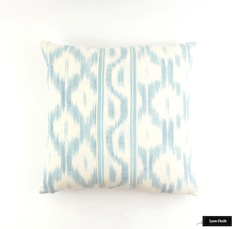 Schumacher Santa Monica Ikat Pillow Blue 20 X 20 with Border sewn in center.