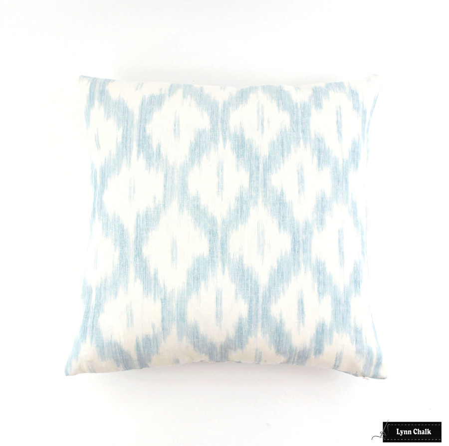 Schumacher Santa Monica Ikat Pillow Blue 20 X 20