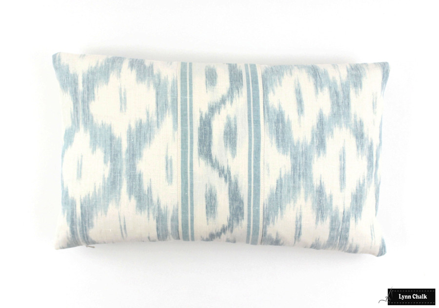 Schumacher Santa Monica Ikat Custom Drapes (shown in China Blue)