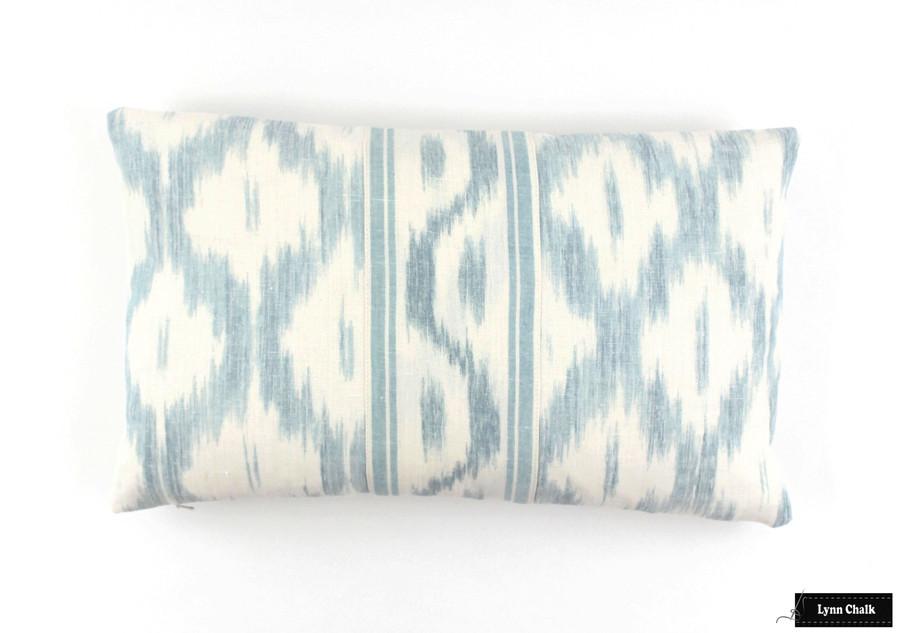 Schumacher Santa Monica Ikat Pillow Blue 12 X 20 with Border sewn in center.