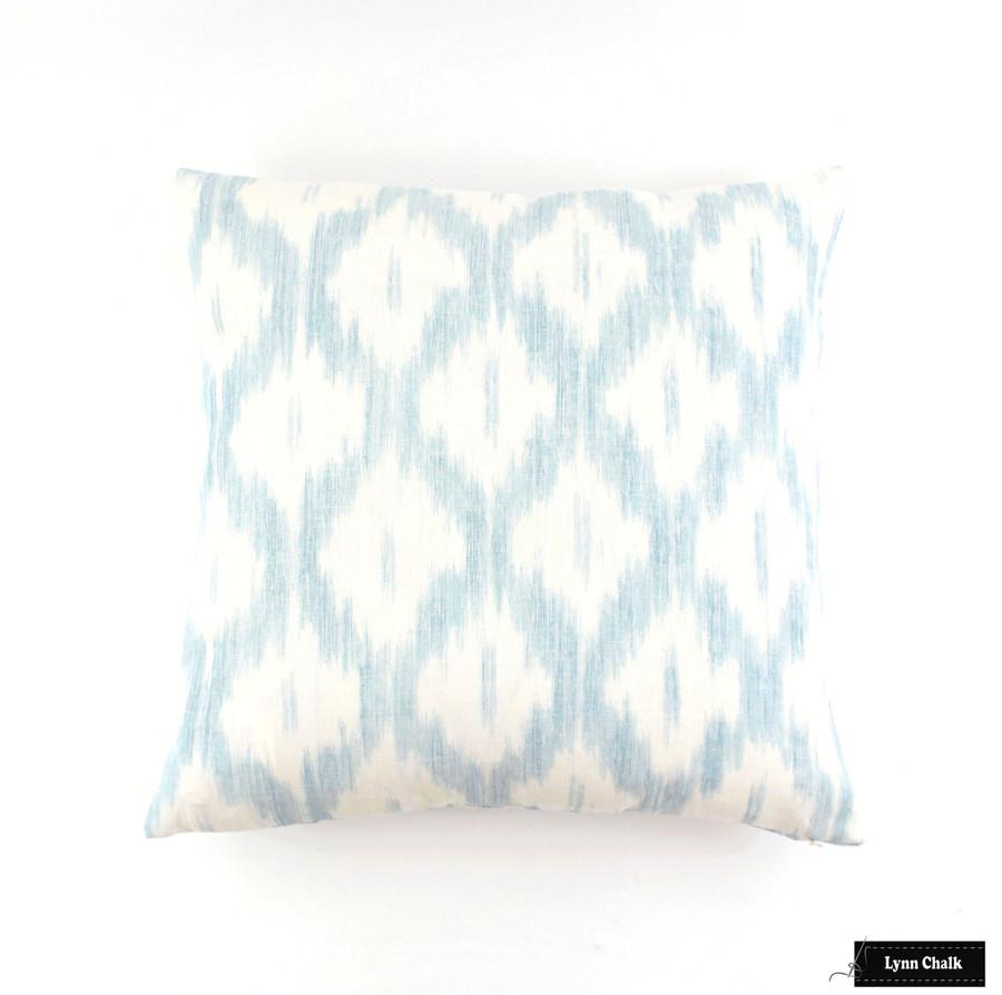 Schumacher Santa Monica Ikat Pillow Blue 20 X 20