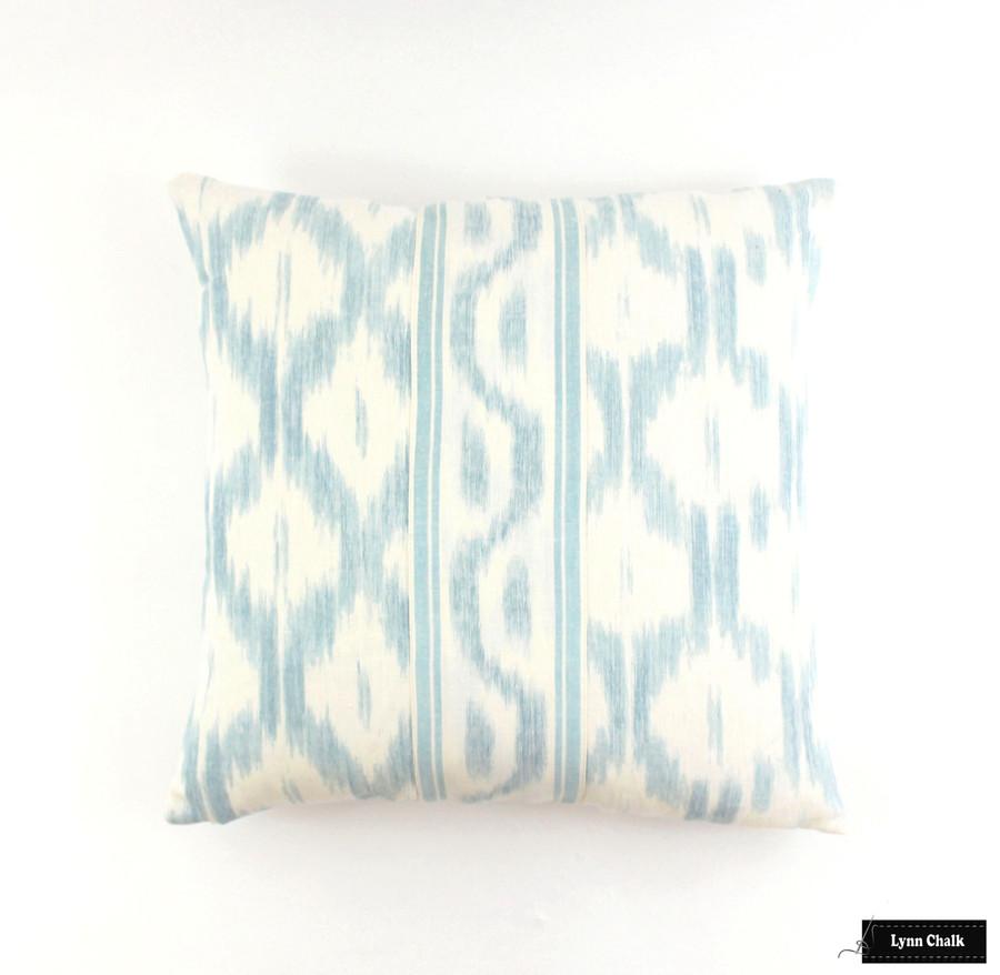 Schumacher Santa Monica Ikat Pillow Blue 20 X 20 with Border sewn in center.