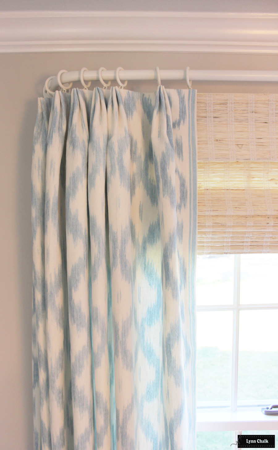 Schumacher Santa Monica Ikat Drapes with Helser Brother French Poles in Alabaster