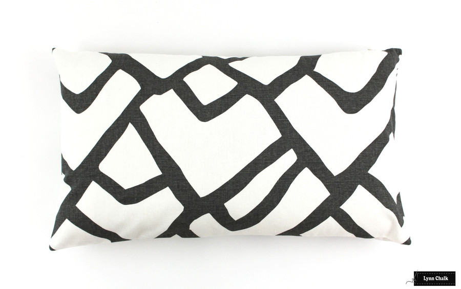 """ON SALE Schumacher Zimba in Charcoal Pillow Cover 14 X 24"""" (Both Sides) Only 1 Remaining at this Sale Price"""