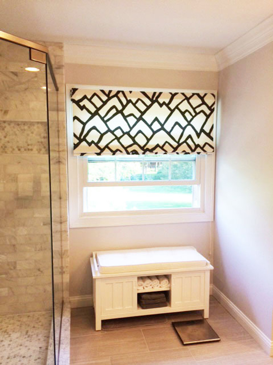 Custom Roman Shade in Zimba in Charcoal by Lynn Chalk