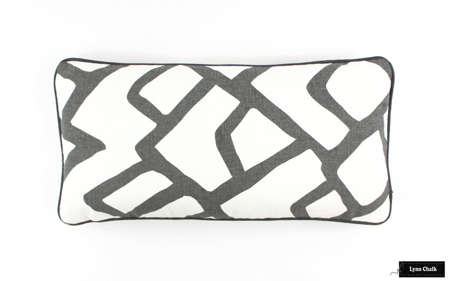 Pillow in Zimba Charcoal Grey with Dark Grey Welting12 X 24