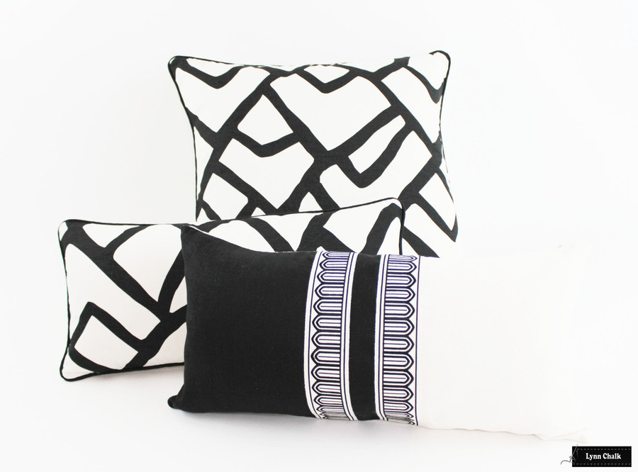 Pillows in Zimba Ebony with Black Welting.  Black and White Pillow has Schumacher Arches Trim in Center.