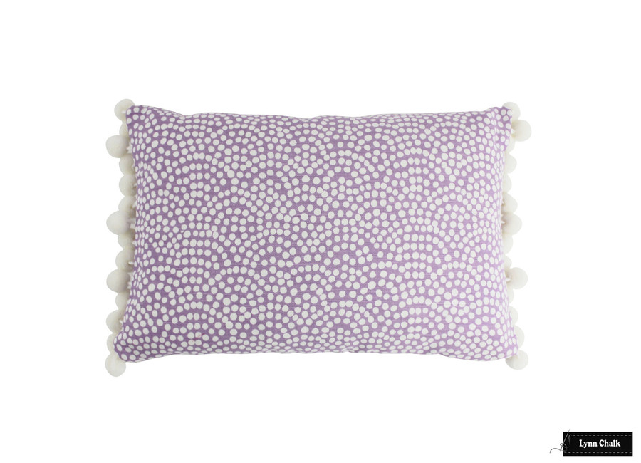 Quadrille Mojave One Color Reverse Lavender White Pillow with Samuel & Sons Dolce Pom Pom Trim