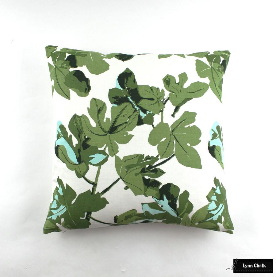 Fig Leaf on White Linen Knife Edge Pillows (22 X 22)