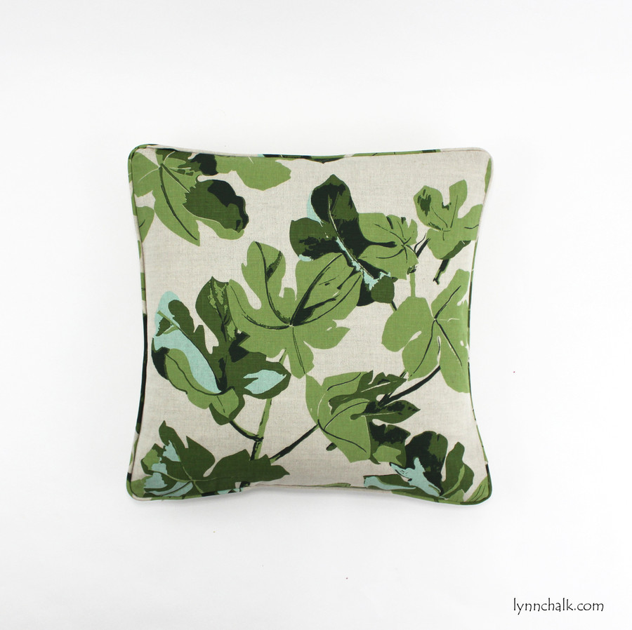 Pillow in Peter Dunham Fig Leaf on Natural with self welting (18 X 18)