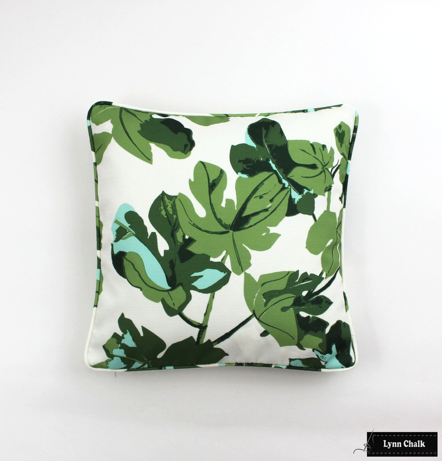 Pillow in Peter Dunham Fig Leaf on White with self welting (16 X 16)