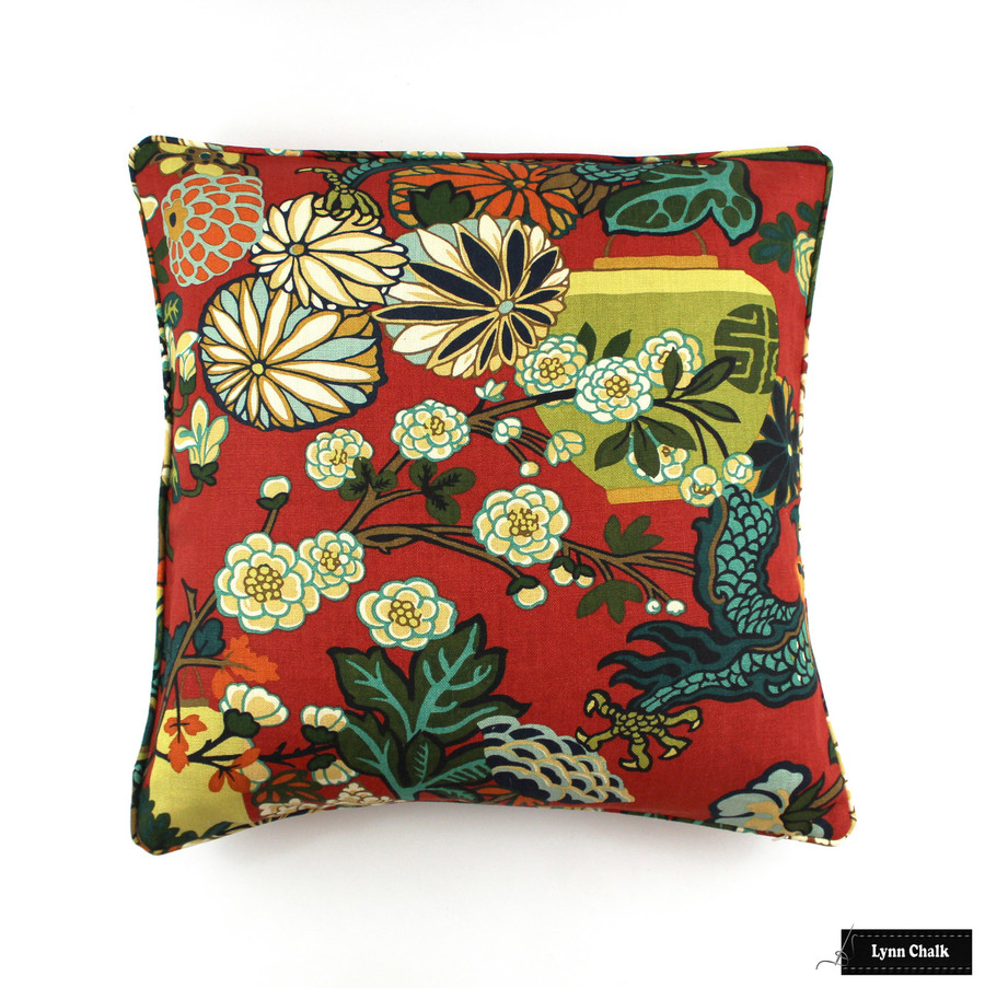 Schumacher Chiang Mai Dragon Pillow with Welting in Lacquer Red (Comes in  8 Colors) 2 Pillow Minimum Order