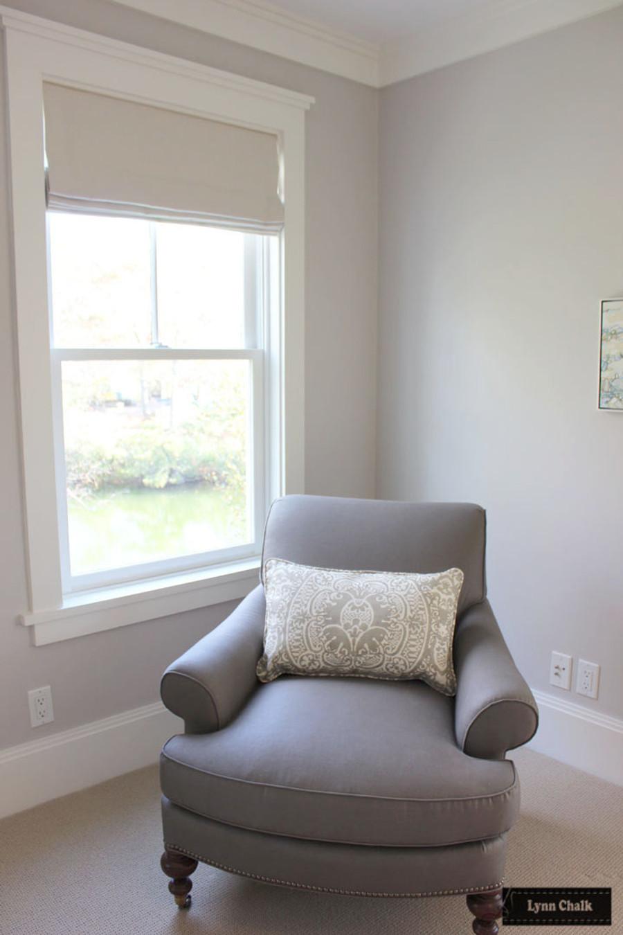 Quadrille Veneto in Grey Pillow with Roman Shade in Kravet Indoor Outdoor 16235 1116