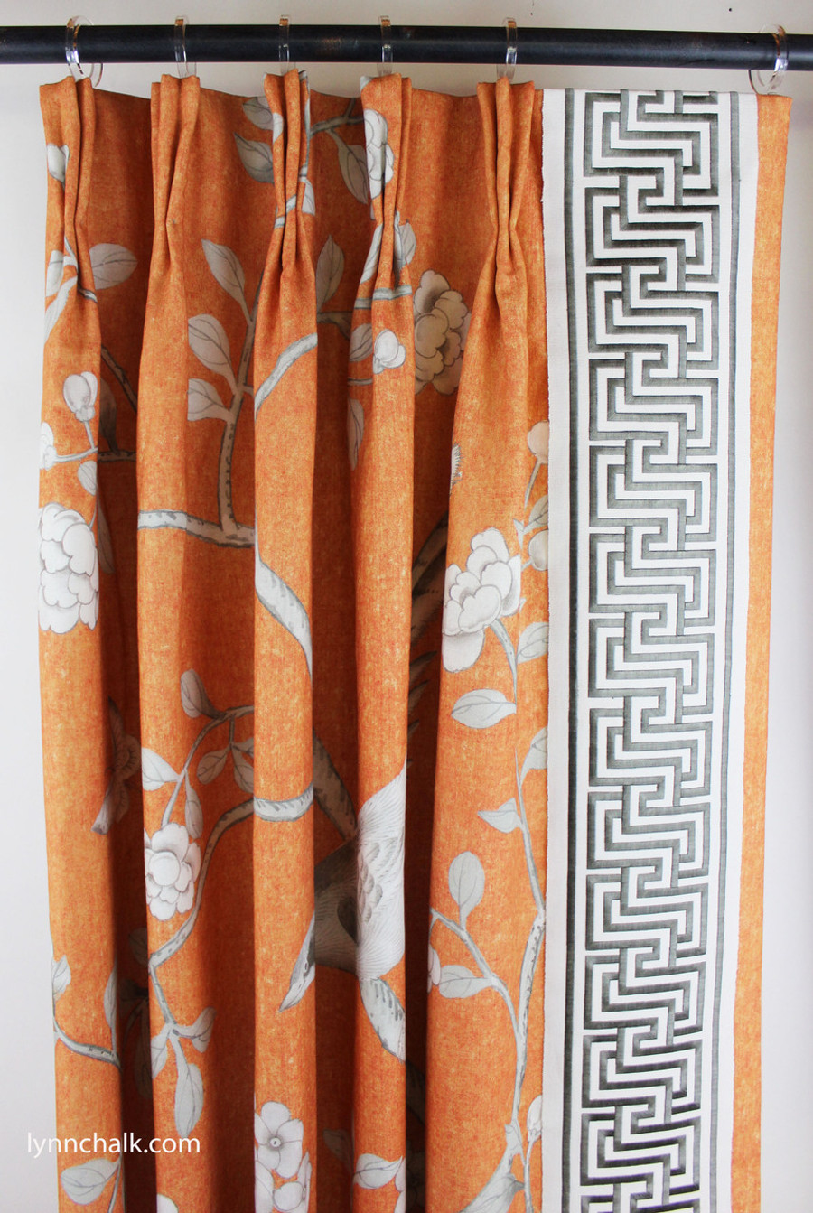 Custom Drapes in Chinois Palais with Labyrinth Tape in Dove
