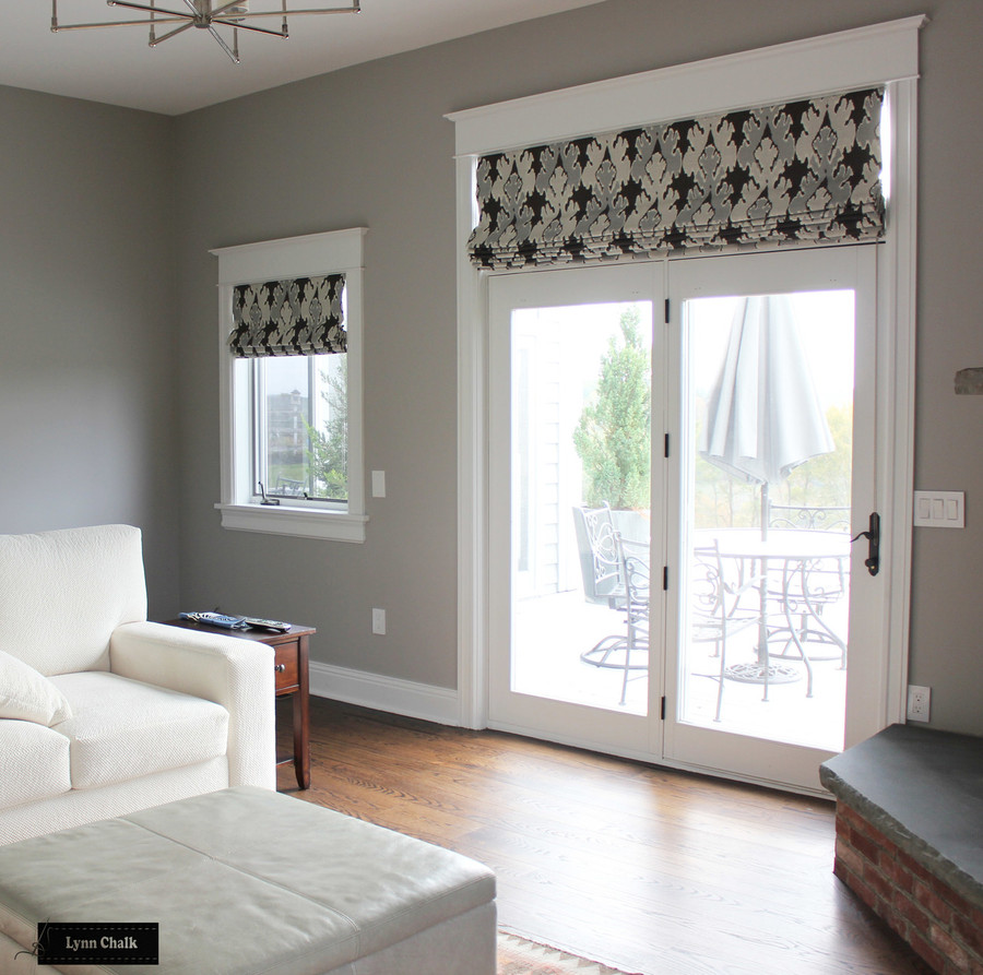 Kelly Wearstler/Lee Jofa Bengal Bazaar Custom Roman Shades in Living Room (shown in Graphite-comes in other colors)