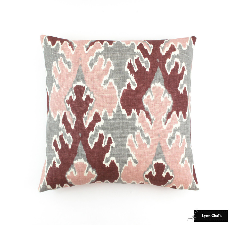 ON SALE 50% Off - Kelly Wearstler Bengal Bazaar in Graphite Rose Pillow (Both Sides - 20 X 20) This color is discontinued