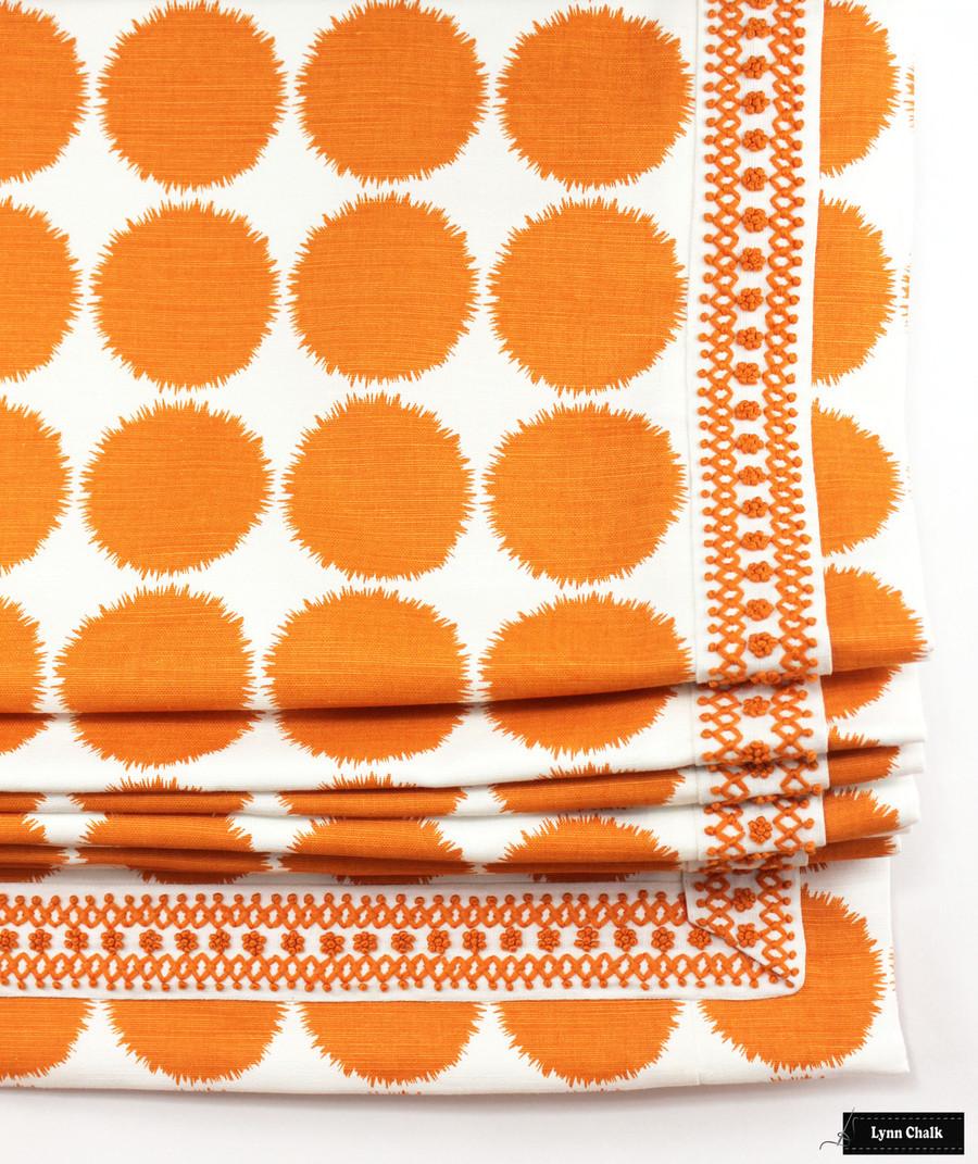 Schumacher Fuzz Orange Custom Roman Shade with Sunnyvale Tape