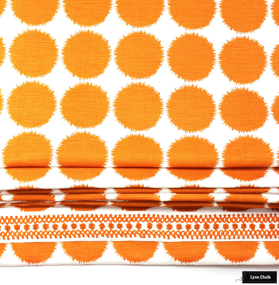 Schumacher Fuzz Custom Roman Shade (shown in Orange with Sunnyvale Trim)
