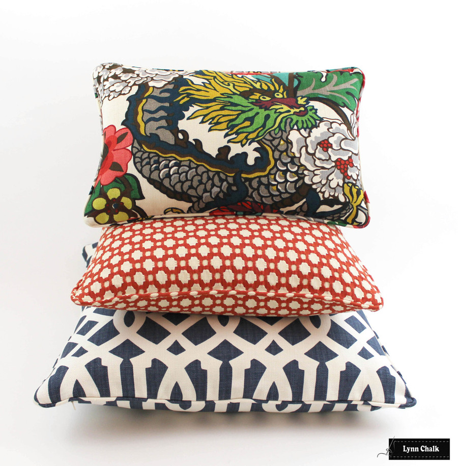 Schumacher Chiang Mai Dragon Alabaster, Betwixt in Spark, and Imperial Trellis in Navy Pillows