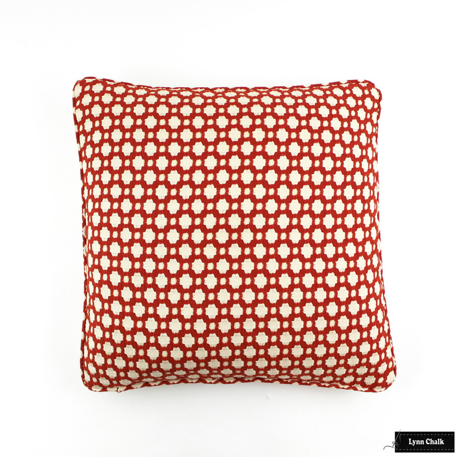 ON SALE 50% Off- Schumacher Celerie Kemble Betwixt Pillows in Spark Orange with Welting (Front Only-20 X 20)