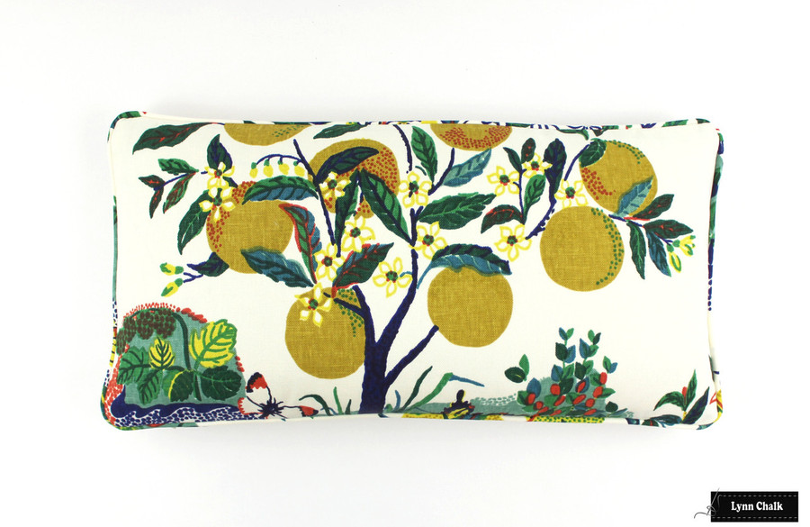 Custom Pillow In Citrus Garden Primary with self welting (12 X 24)