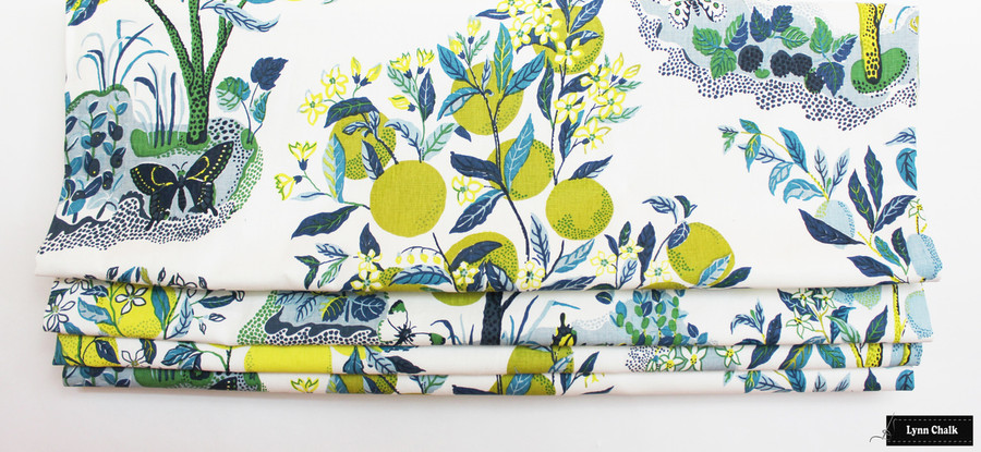Schumacher Citrus Garden Linen in Pool 175761 - 2 Yard Minimum Order