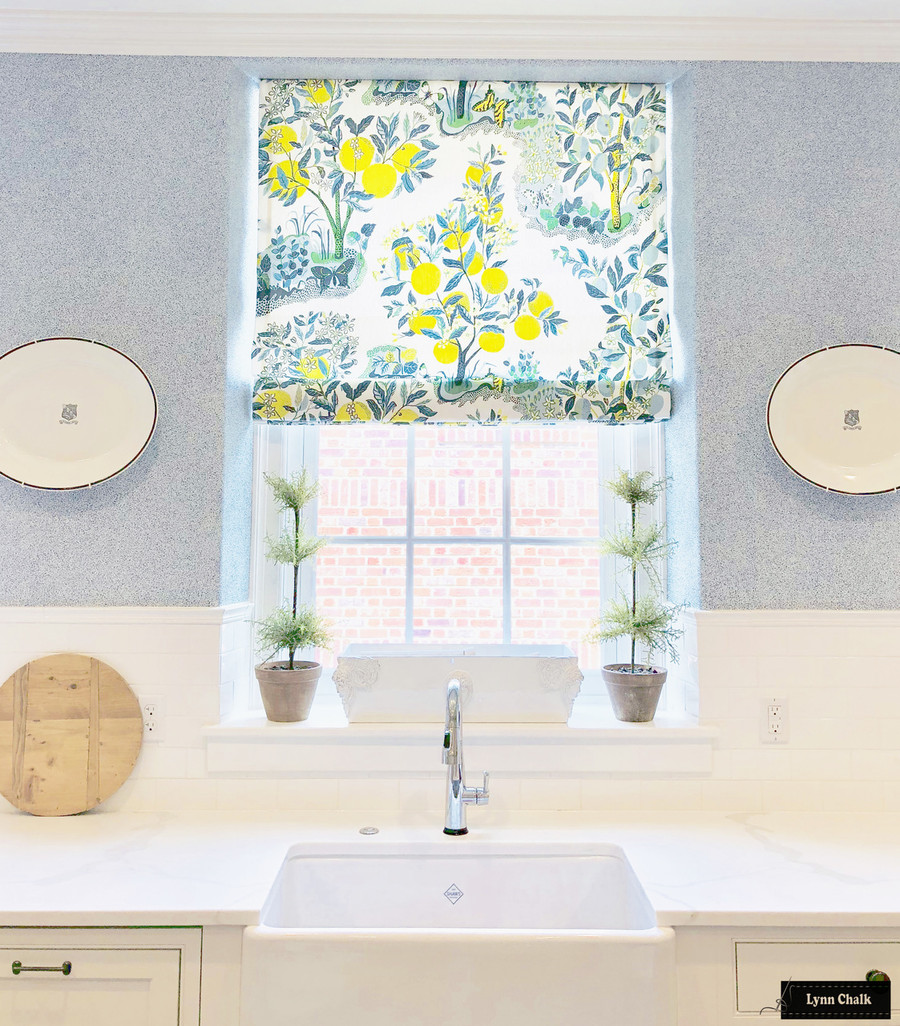 Schumacher Citrus Garden Custom Roman Shades (shown in Pool-also comes in Lime and Primary)