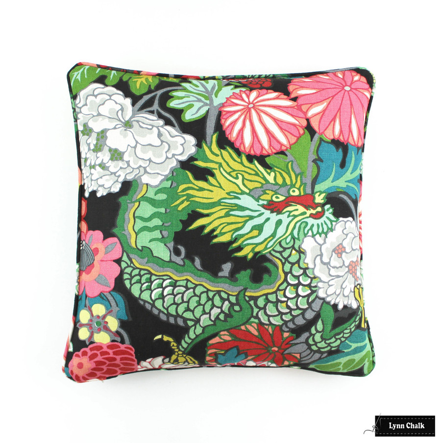 ON SALE 60% Off Schumacher Chiang Mai Dragon Pillow in Ebony with Welting (Front Only-20 X 20) Made To Order